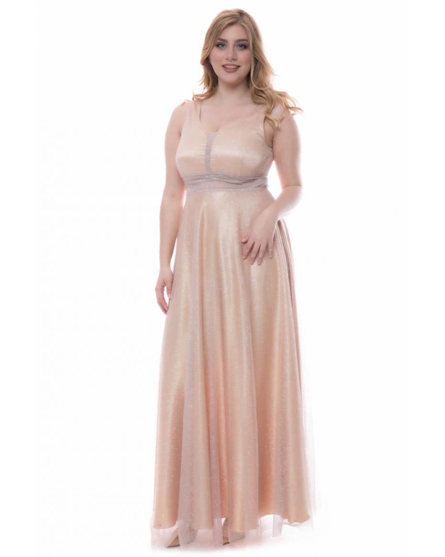 510377b74dd3 Glitter φόρεμα με διαφάνεια σε χρυσό χρώμα ...