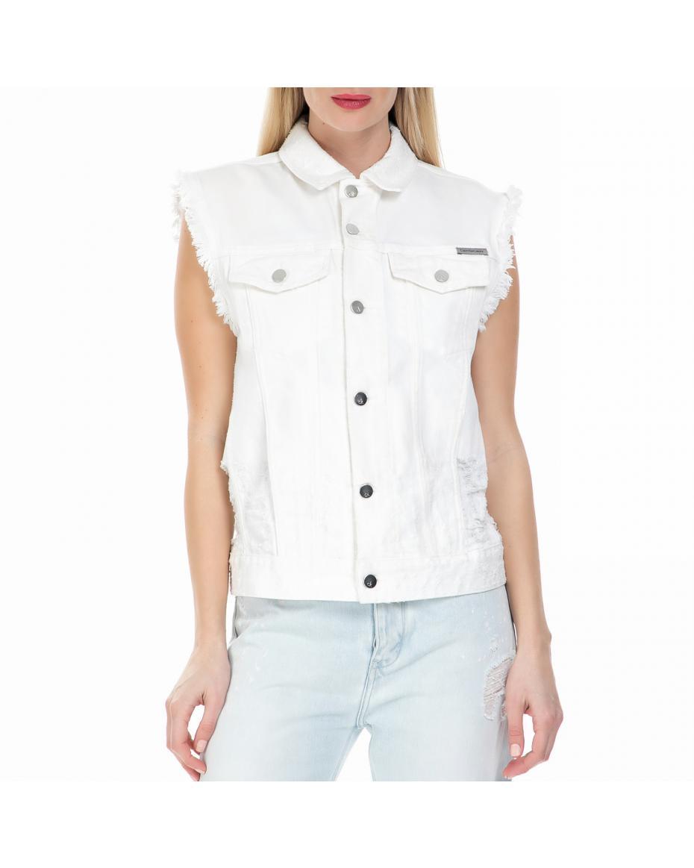 24cbc7c749ea CALVIN KLEIN JEANS - Γυναικείο αμάνικο τζιν jacket Calvin Klein Jeans λευκό  ...