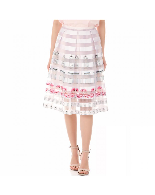 e3cecf6e9c TED BAKER - Γυναικεία φούστα TED BAKER BURNOUT WINDOW BOX ροζ-λιλά ...
