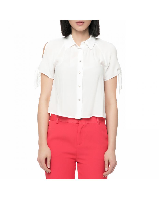 ff43b4a01ce9 GUESS - Γυναικείο κοντομάνικο πουκάμισο Guess PATI CREPE FLUID λευκό ...