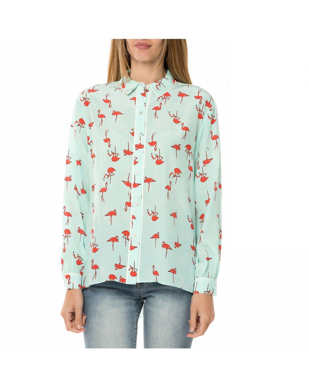 JUICY COUTURE - Γυναικείο μακρυμάνικο πουκάμισο JUICY COUTURE SW FLAMINGO  γαλάζιο με print ... 15aa51388b3