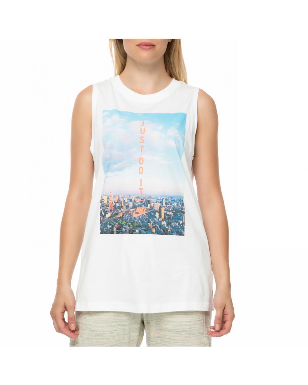 64733a1f4aab NIKE - Γυναικεία αμάνικη μπλούζα NIKE λευκή με στάμπα ...