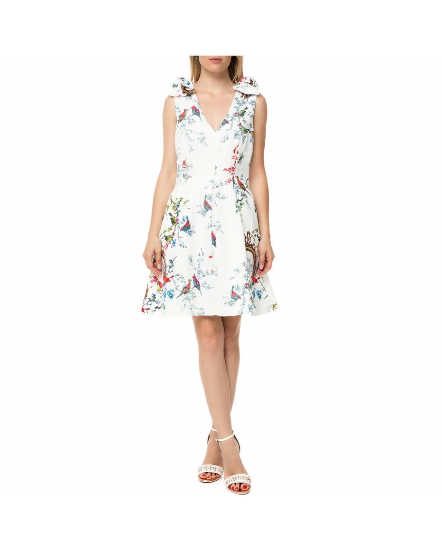 5e71fe13e449 TED BAKER - Γυναικείο αμάνικο μίνι φόρεμα TED BAKER MANUELI λευκό με φλοράλ  ...