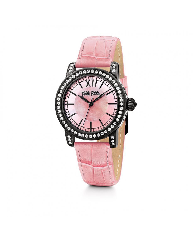 1b477709e8 FOLLI FOLLIE - Γυναικείο ρολόι Folli Follie με δερμάτινο λουράκι ροζ ...