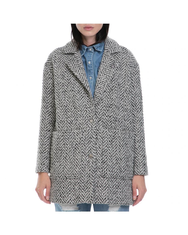 FUNKY BUDDHA - Γυναικείο παλτό FUNKY BUDDHA λευκό-μαύρο ... de4109ff253