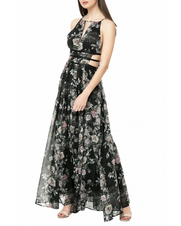 19625cb61bf LA DOLLS - Γυναικείο maxi φόρεμα L.A. DOLLS FLOWER μαύρο ...