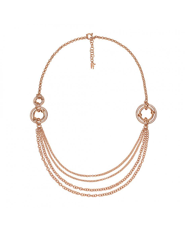 c4ce4d5680 FOLLI FOLLIE - Γυναικείο μακρύ κολιέ με κρίκους   κρυστάλλινες πέτρες BONDS  επιχρυσωμένο ροζ ...