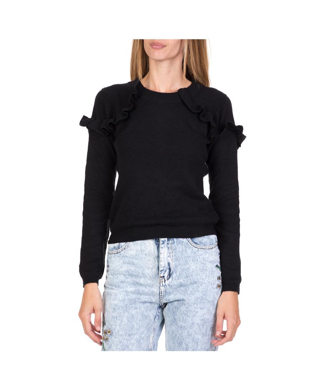 a1480df61a79 FUNKY BUDDHA - Γυναικεία πλεκτή μπλούζα με βολάν FUNKY BUDDHA μαύρη ...