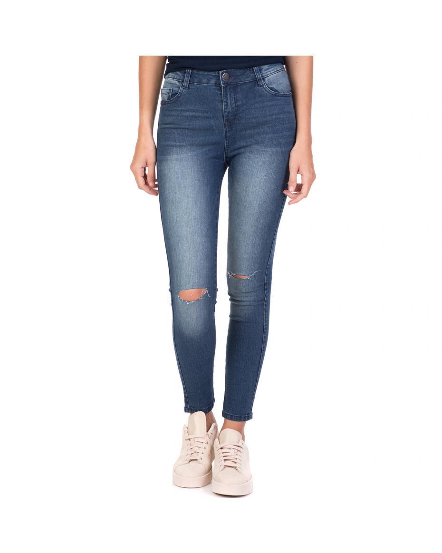 3487bb6b83a2 FUNKY BUDDHA - Γυναικείο τζιν παντελόνι με σκισίματα FUNKY BUDDHA μπλε ...