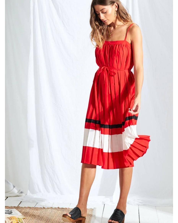 fdaeb70e2c9e Κόκκινο πλισέ midi φόρεμα