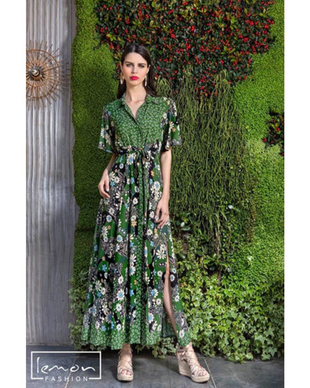 Φόρεμα maxi εμπριμέ shirt dress