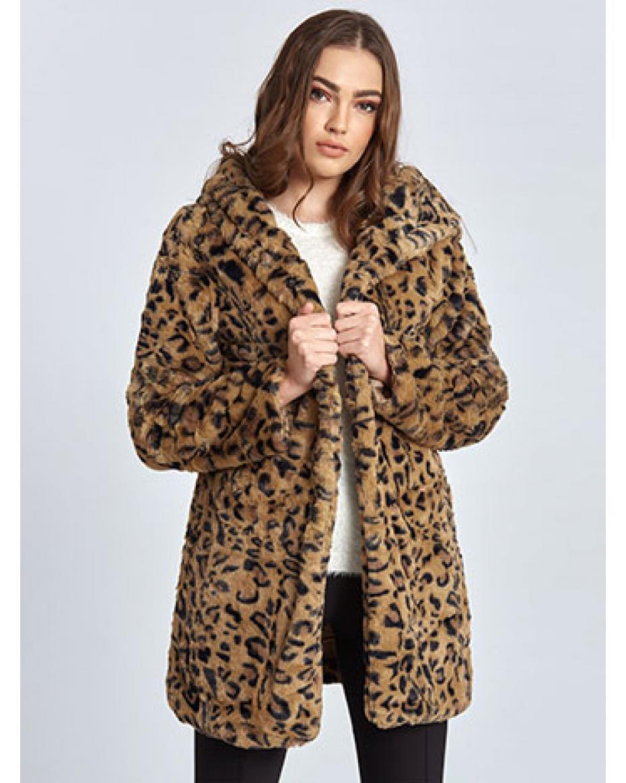 Λεοπάρ παλτό από οικολογική-συνθετική γούνα WL453.7389+3 ... c554ace7d84