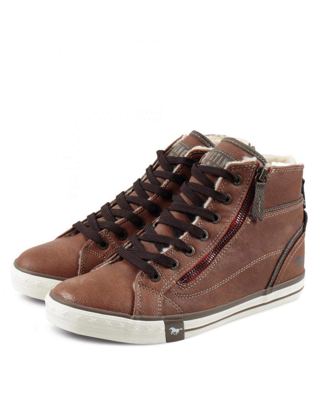 19c7c9be34 Mustang Damen Hogh Top Sneakers 1209601 Καφέ ...