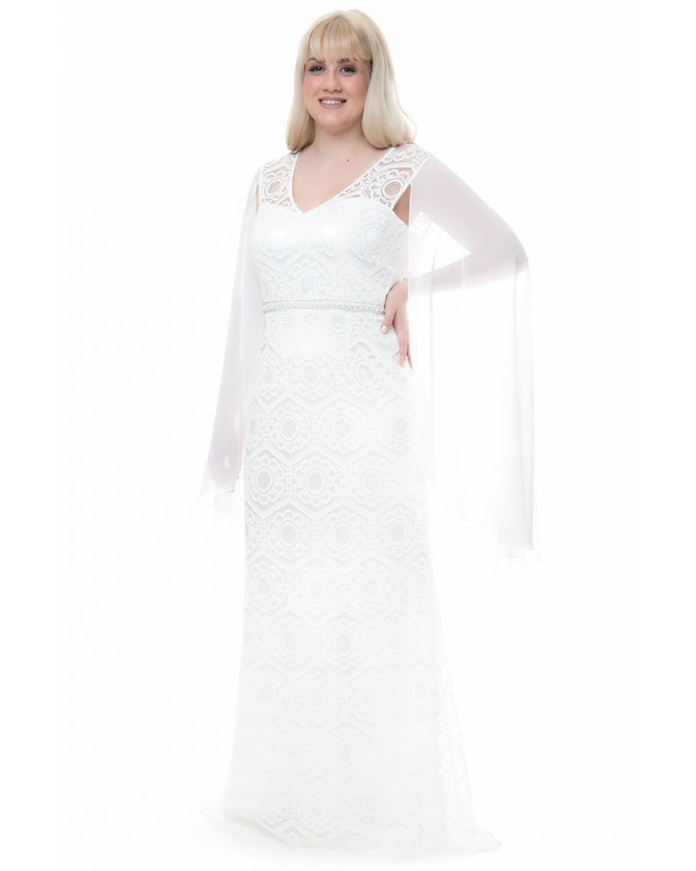 5b3adb75e1d Γυναικεία Φορέματα σε Μεγάλα μεγέθη - Plus size χρώματος ΑΣΠΡΟ ...