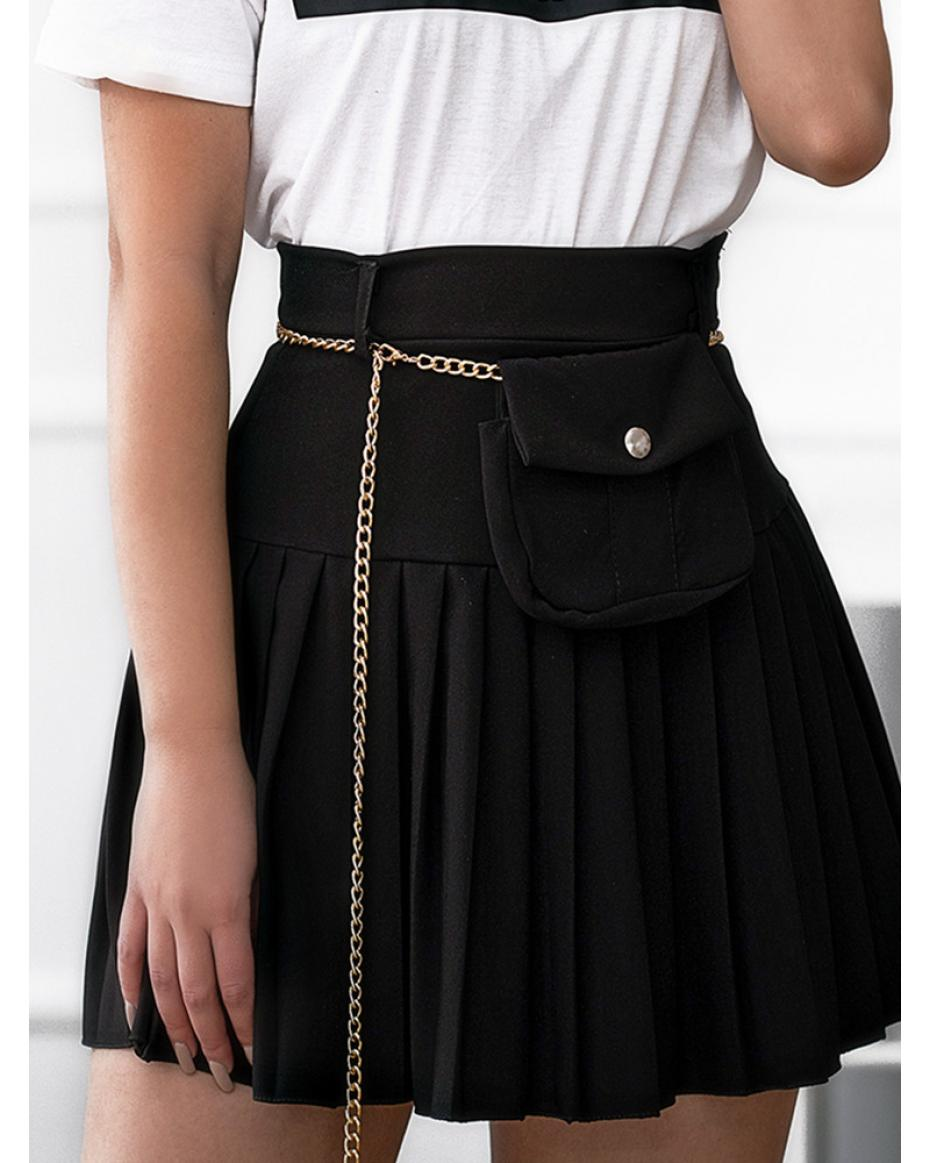 CANAVERAL BLACK MINI SKIRT WITH BELT BAG