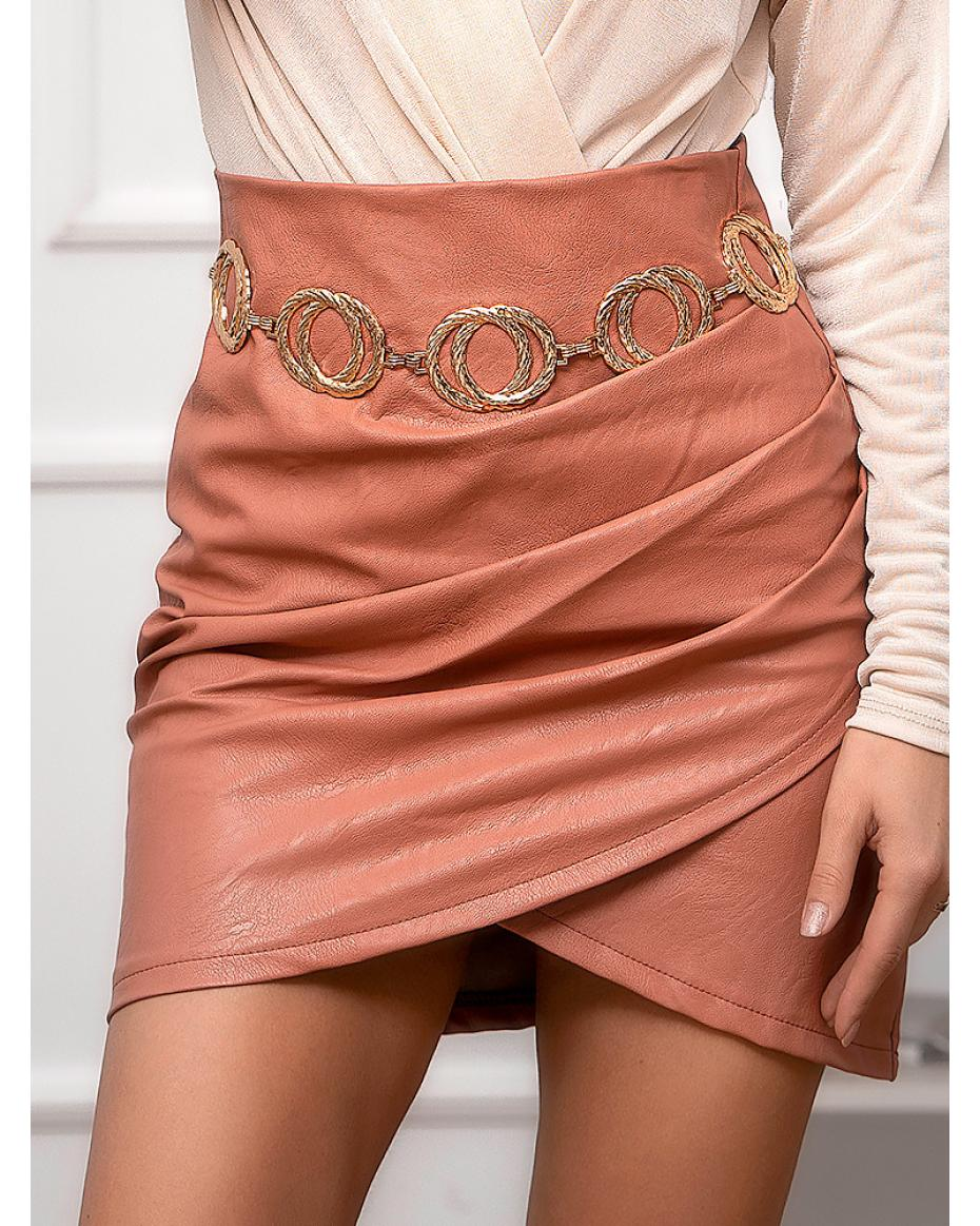 NOVA SALMON LEATHER SKIRT