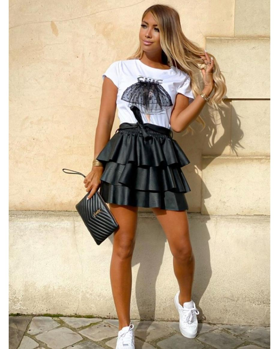 SIRELLA BLACK FRILL LEATHER SKIRT