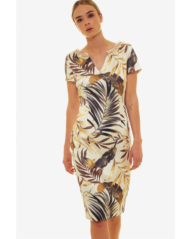 Jupe γυναικείο pencil φόρεμα με print φύλλα και τρέσα - 21.191.J05.004 - Εκρού