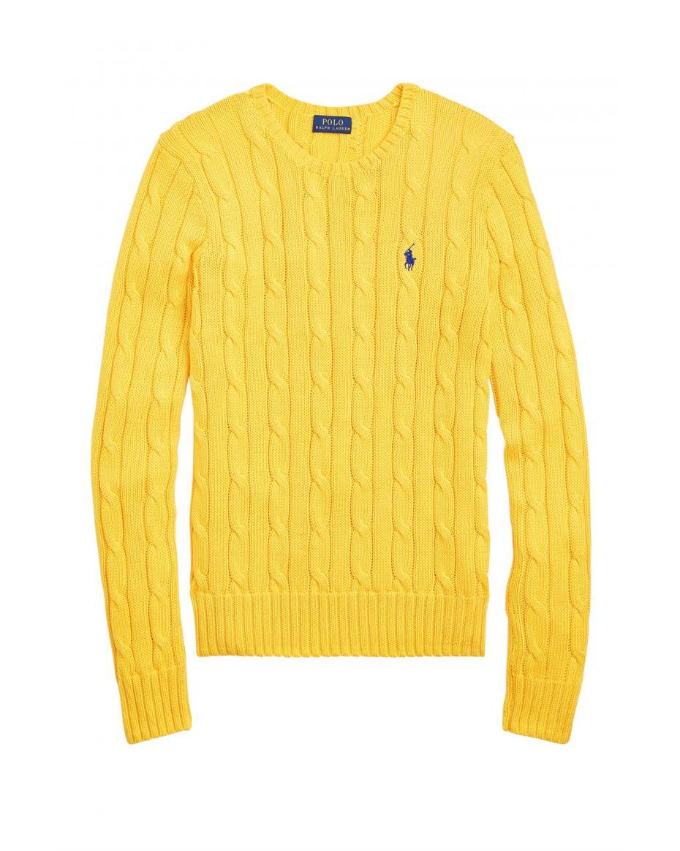 7d9f61559c23 Polo Ralph Lauren γυναικεία πλεκτή μπλούζα με σχέδιο πλεξούδες Cable-Knit -  211580009066 - Κίτρινο ...