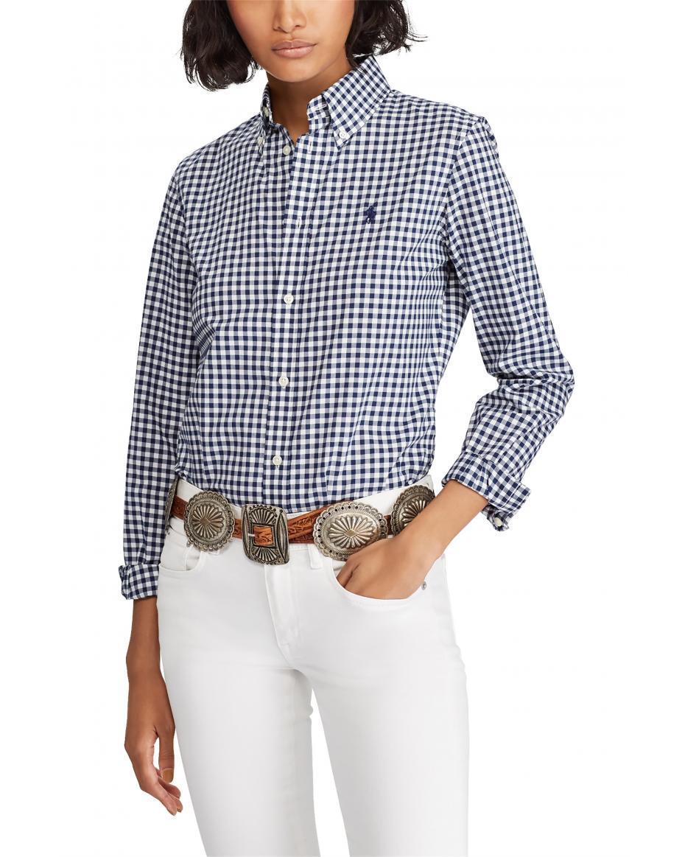 47d8ed38e42a Polo Ralph Lauren γυναικείο καρό πουκάμισο Slim Fit Gingham - 211732620002  - Μπλε Σκούρο ...