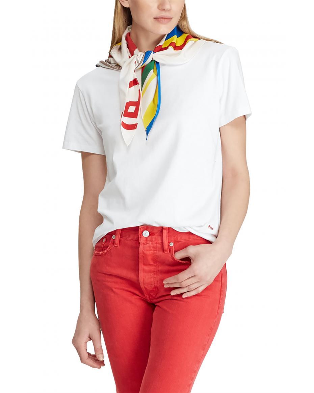 2bccd11589bc Polo Ralph Lauren γυναικεία μπλούζα με μαντήλι Silk-Neck-Scarf -  211734112001 - Λευκό ...