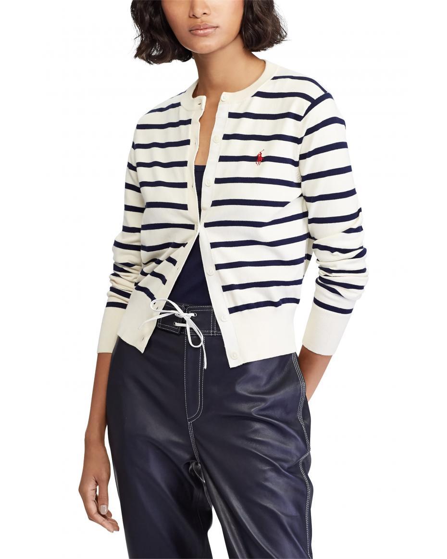 bc4b8ca207fa Polo Ralph Lauren γυναικεία ριγέ ζακέτα Striped Cardigan - 211738057001 -  Εκρού ...