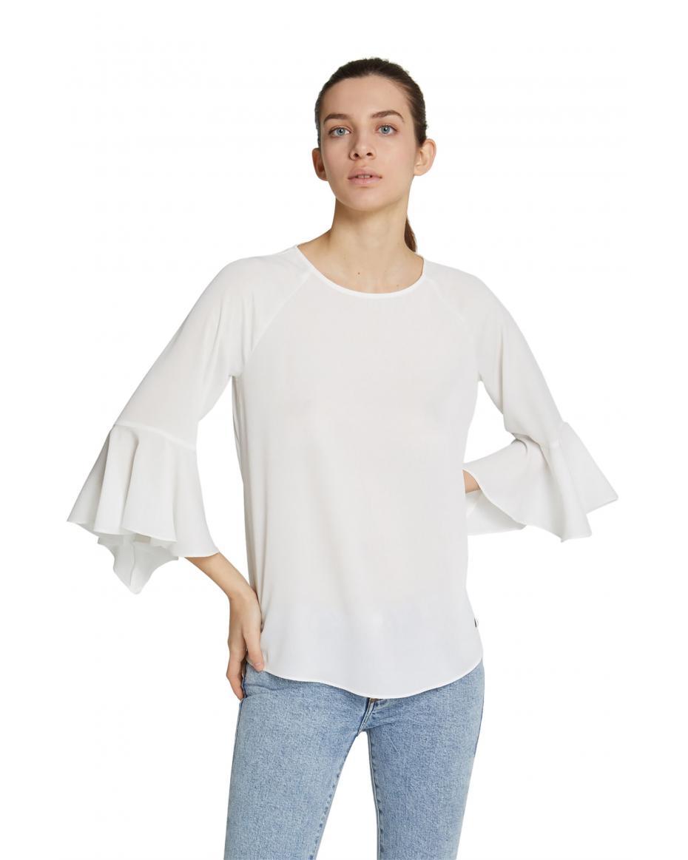 5eb0f63cfb0d Trussardi Jeans γυναικεία μπλούζα με βολάν - 56C00196-1T002288 - Λευκό ...