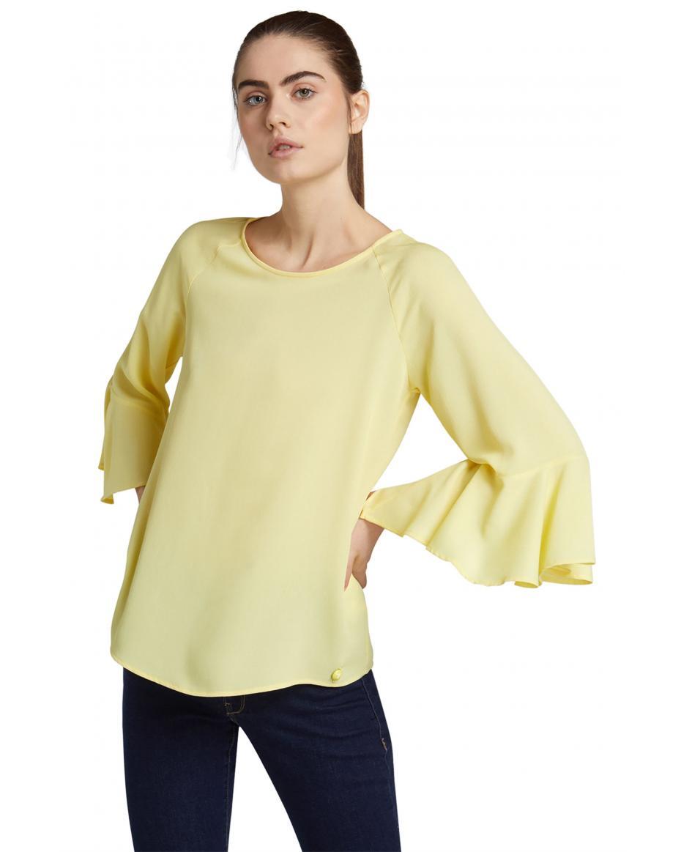 dc3417365b08 Trussardi Jeans γυναικεία μπλούζα με βολάν - 56C00196-1T002288 - Κίτρινο ...