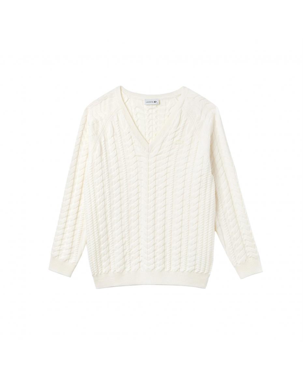 28caf891d6cd Lacoste γυναικεία πλεκτή μπλούζα με V λαιμόκοψη - AF8888 - Εκρού ...