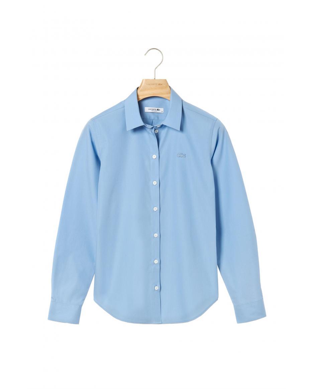 7086dd252e9c Lacoste γυναικείo μονόχρωμο πουκάμισο ποπλίνα Regular Fit - CF4394 -  Γαλάζιο ...