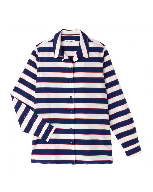 0b2e5771a542 Lacoste γυναικείο πουκάμισο με φαρδιές ρίγες - CF9256 - Λευκό ...