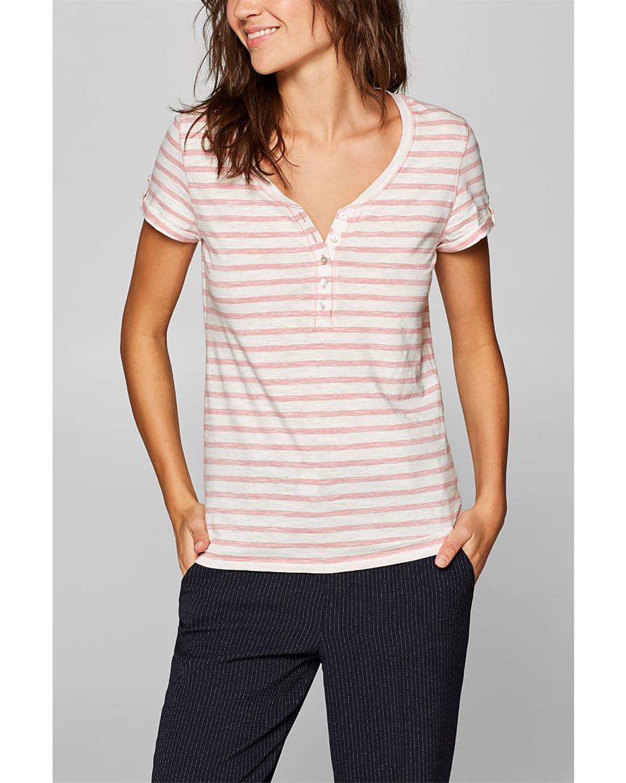 1ef76d02d68a Esprit γυναικεία ριγέ μπλούζα με κουμπιά - 039EE1K029 - Ροζ ...