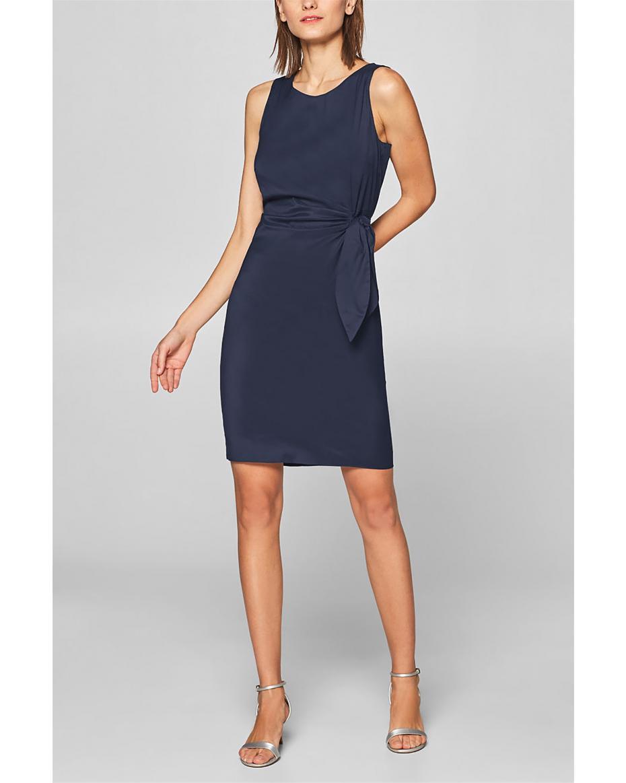 7188540180e0 Esprit γυναικείο pencil φόρεμα με δέσιμο στο πλάι - 999EO1E800 - Μπλε  Σκούρο ...