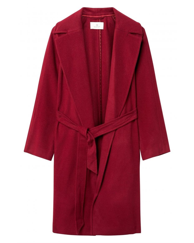 Gant γυναικείο παλτό με ζώνη Diamond G - 4750020 - Κόκκινο ... a45f02c23b6