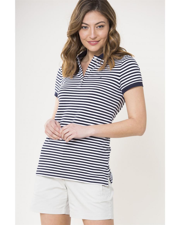 19f25a2739 Nautica γυναικείο polo κοντομάνικο μπλουζάκι με ρίγες - 91K003 - Μπλε  Σκούρο ...