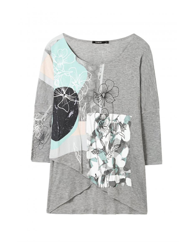 095bda8c1506 Γυναικεία μπλούζα σε φαρδιά γραμμή Calista Desigual - 18SWTKEG - Γκρι ...