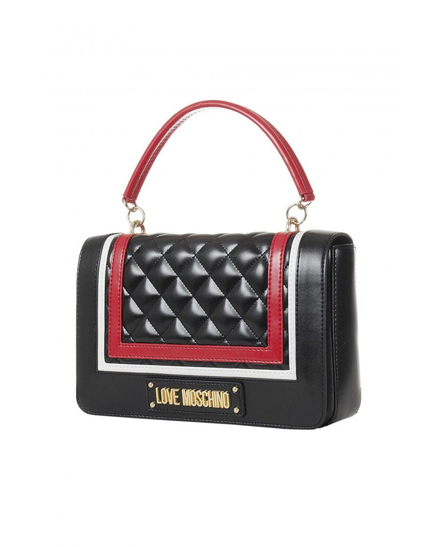 5a880ac98d Love Moschino γυναικεία τσάντα χειρός καπιτονέ με αφαιρούμενο λουρί με  αγκράφα - JC4012PP17LB1 - Μαύρο ...