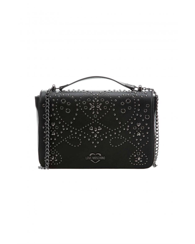 c447026754 Love Moschino γυναικεία τσάντα crossbody με μεταλλικά στοιχεία -  JC4123PP17LR0 - Μαύρο ...