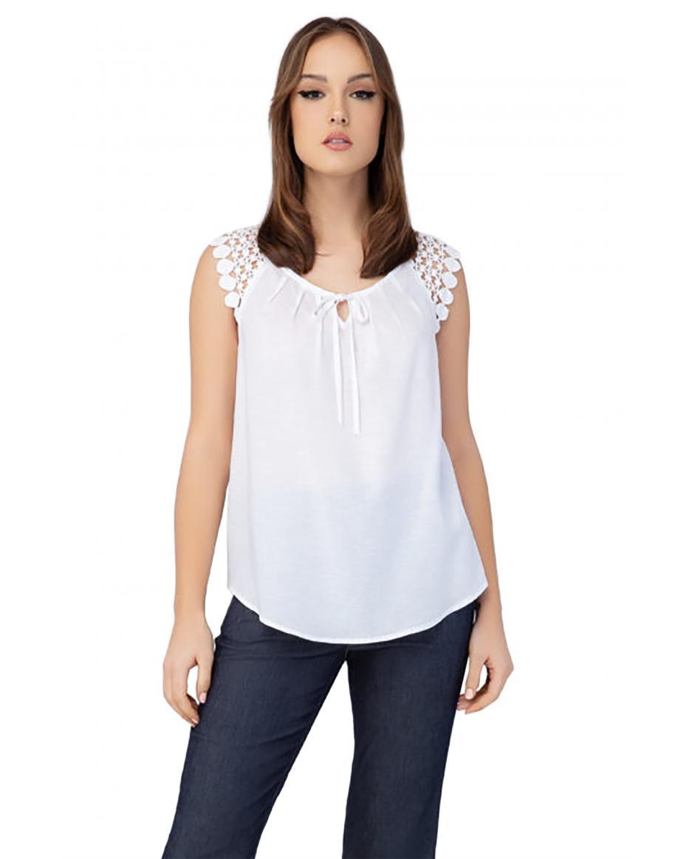 ed365b07ae33 Billy Sabbado γυναικεία λινή μπλούζα με δαντέλα στους ώμους - 0299223232 -  Λευκό ...