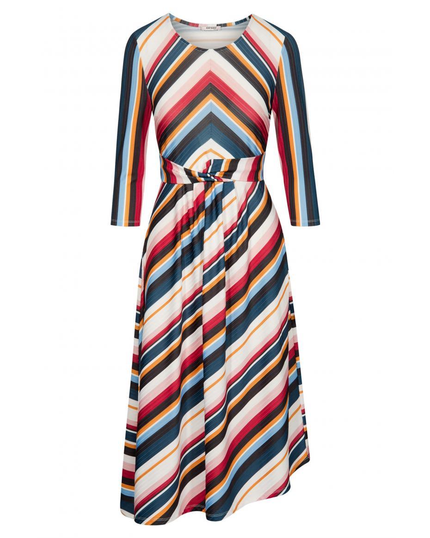 fedbe23a65b0 Orsay γυναικείο ασύμμετρο φόρεμα με χρωματιστές ρίγες - 471361-526000 - Μπλε  Σκούρο ...