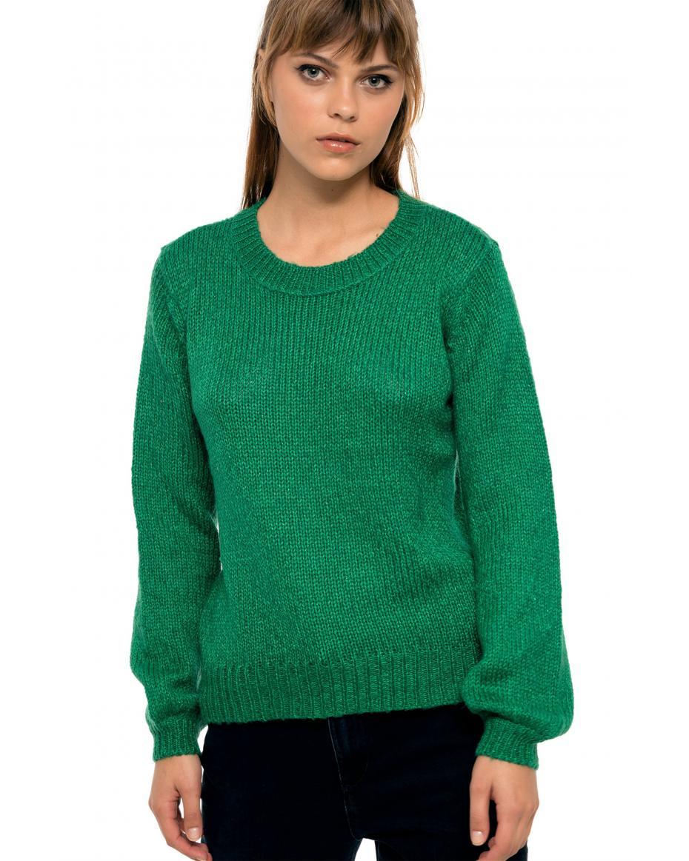 42b11e48dce4 Fransa γυναικεία πλεκτή μπλούζα με balloon μανίκια - 20604648 - Πράσινο ...