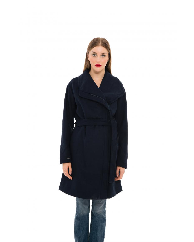 8a01f629be Fransa γυναικείο παλτό με μεγάλο γιακά και ζώνη - 20604176 - Μπλε Σκούρο ...