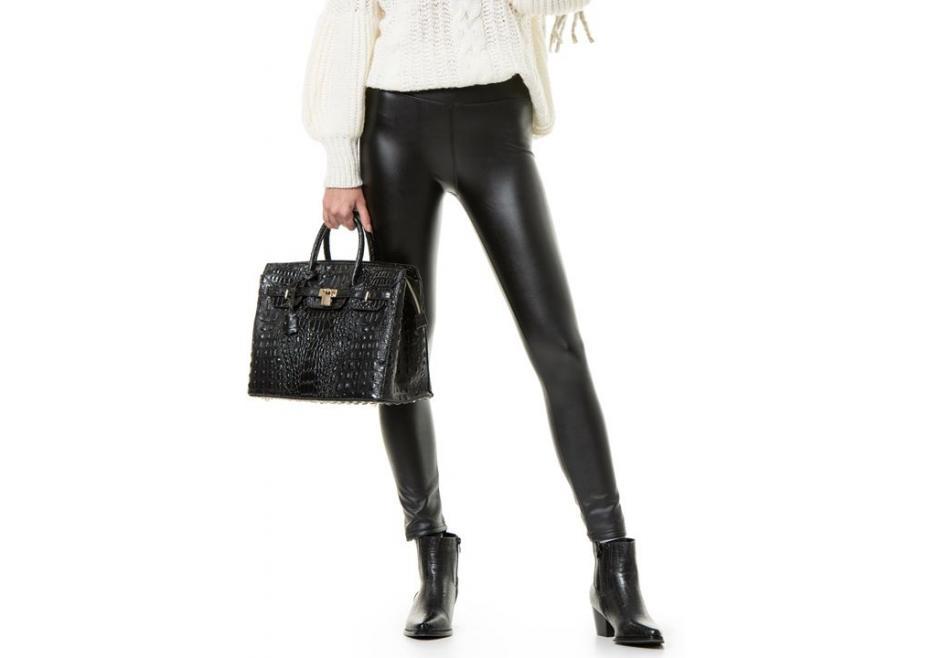 Leatherette ψηλόμεσο παντελόνι!
