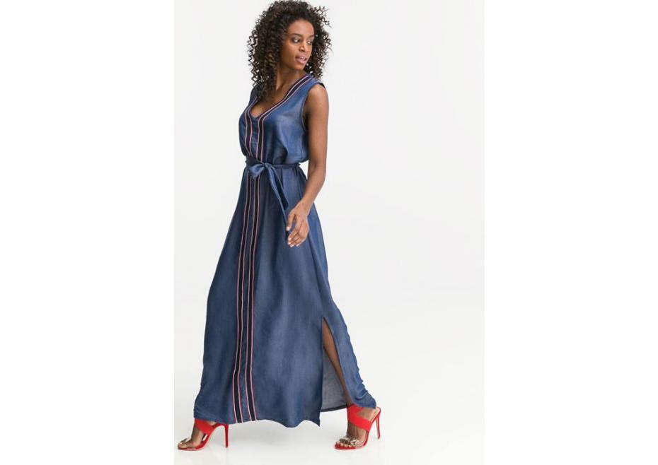 Soft denim maxi φόρεμα!
