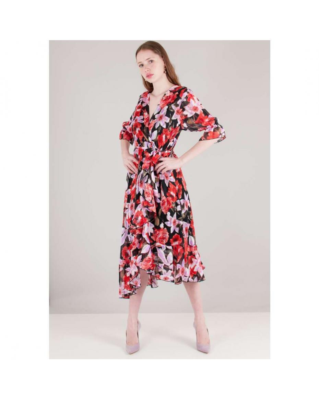a1c885723648 Γυναικεία Φλοράλ Φορέματα (1121). ΦΙΛΤΡΑ. Φλοράλ φόρεμα με βολάν στο  τελείωμα ...